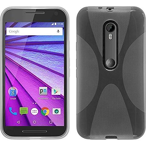 Funda de silicona para Motorola Moto G 2015 3. Generation - X-Style transparente - Cover PhoneNatic Cubierta + protector de