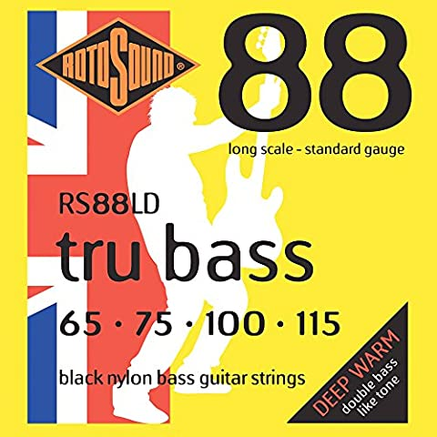 Rotosound Black Nylon Standard Gauge Flatwound Bass Strings (65 75 100 115)