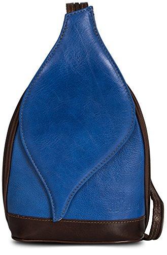Petit sac à main 2 en 1 porté épaule transformable en sac à dos en autentique cuir italien - Ouverture magnétique type feuille - 'Kim' par LiaTalia(Bleu électrique et bords brun)