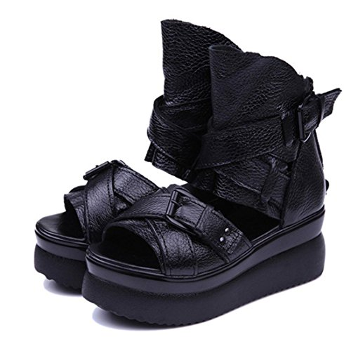 jeansian Moda Donna Piattaforma Scarpe Scarpe Sandali Romani Sandal Shoes WSA019 Black 39