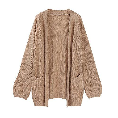 BBring Damen Mode Outwear Cardigan Short Sweater Coat Winter Wolljacke Warmer Strickjacke s Mantel (Khaki) (Strickjacke Wolle Lace)