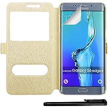 4in1 Smart Funda con Ventana para Samsung Galaxy S6 Edge PLUS / S6 Edge+ Carcasa Flip Cover con Función de Soporte, en Oro / Champán + 1x Protector de pantalla + 1x Lápiz