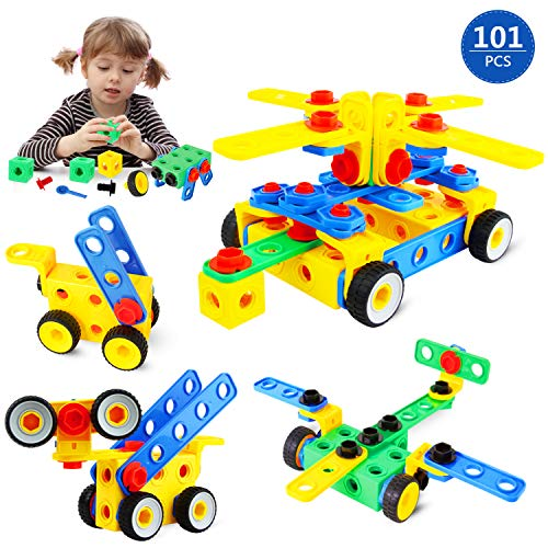 joylink Construction Building Toys, 101 PCS DIY Building Blocks Toys Creativity Educational Children's Toys Firm Building Blocks Set Making Models Gift with Storage Box for Toddlers Age 3+ Boys Girls