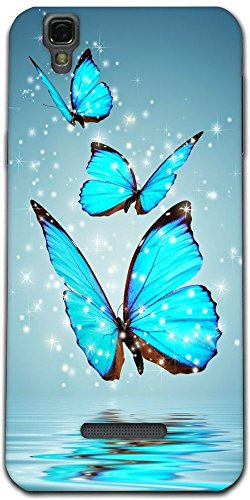 Snoogg Blue Butterfly digital Designer Protective Back Case Cover For Micromax Yureka Yu YUREKA AO5510 Mobile