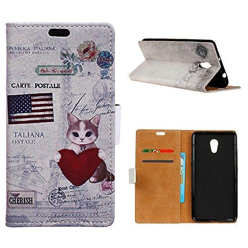 "MOONCASE Meizu M5s/Meizu Meilan 5s Custodia, [Colorful Pattern] Flip Pelle Cover Durevole TPU Antiurto Supporto Protezione Case per Meizu M5s 5.2"" Cat"
