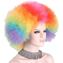 Afro Clown Wig Adult 70%+ OFF Rainbow Synthetic Halloween Costumes Colorful Wigs Mens Women