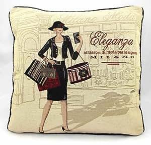 Garnissage en microfibre super Milan Shopping Vintage Coussin tapisserie 45,7x 45,7cm