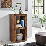 FineBuy Bücherregal Kalkutta 45 x 35 x 90 cm | Massivholz Regal mit 2 Ebenen | Cube Beistelltisch Wohnzimmer | Standregal Shabby-Chic