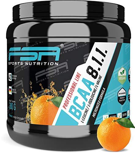 BCAA 8:1:1 Pulver mit essentiellen Aminosäuren, Vegan und ohne Dextrose/Maltodextrin, Low Carb, 300 g - von der Profisport-Marke FSA Nutrition, Hergestellt in Deutschland | Orange Lemonade