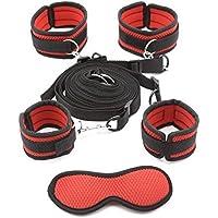 Kit de restricciones de cama premium para parejas juego Correa de grado médico con cómodos muñequera y tobillos Cuffs Diversión juguetes