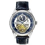 George Etherington Clerkenwell Herren Automatik-Uhr Armbanduhr - Analoge Selbstaufziehende Mechanische Uhr - Rundes Gehäuse und Lederarmband - Mondphase, 3ATM Wasserdicht (Blauer Stahl)