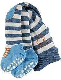 FALKE Baby Strumpfhose Crawler Boy - 82% Baumwolle , 1 Stück, verf. Farbe: blau/weiß, Größe  1-18 Monate - Unterstützt beim Krabbeln und Laufen lernen durch Silikonnoppen auf der Sohle