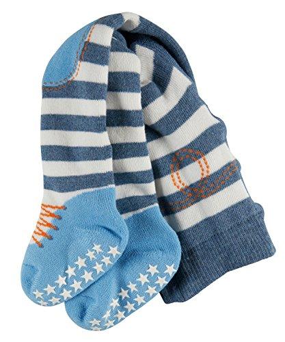 FALKE Baby-Jungen Crawler Boy rutschfeste ABS Sohle geringelte Baumwoll-/Strumpfhose Kniepolster, light denim, 80-92