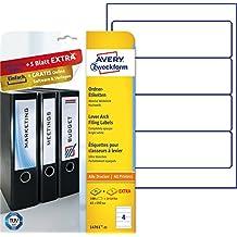 Avery Zweckform L4761-25 Ordnerrückenetiketten (A4, 100 Plus 20 Rückenschilder extra, blickdicht, 192 x 61 mm) 30 Blatt, weiß