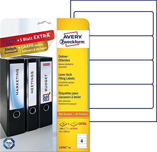 Preisvergleich Produktbild Avery Zweckform L4761-25 Ordnerrücken Etiketten (A4, 120 Rückenschilder, breit/kurz, selbstklebend, blickdicht, 61 x 192 mm) 30 Blatt weiß