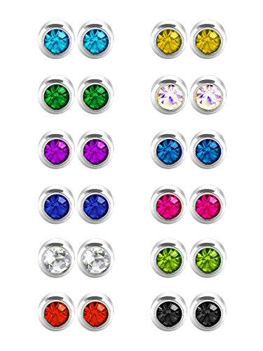12 Paare Edelstahl Ohrstecker Zirkonia Ohr Piercing Ohrstecker, 12 Farben