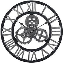 80a1ea9b43e435 MAJOZ 60cm Horloge Pendule Murale XXXL Vintage Geante 3D Design Horloge  Murales Silencieuse en Chiffres Romains