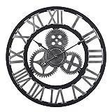 CT-Tribe 23,6Zoll (60cm) Groß XXL Vintage Lautlos Zahnrad Wanduhr Uhr Geräuscharm ohne Ticken Mit römischen Ziffern