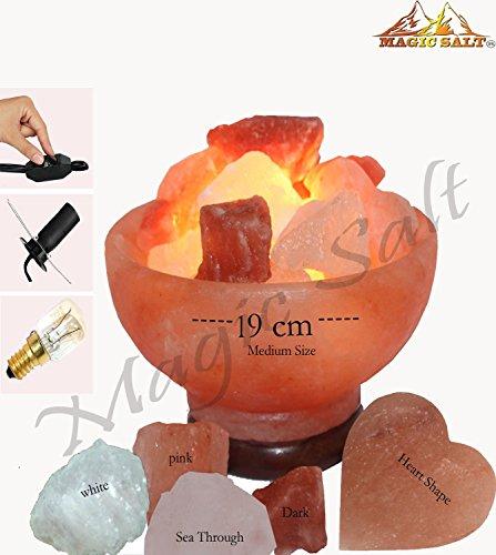 Con lampada magica salt ® sale dell' himalaya braciere naturale iones terapeutico 2.5–3.5kg con 2fatti a mano a forma di cuore per la griglia include speciale dimmer cavo e alta finitura base in legno.