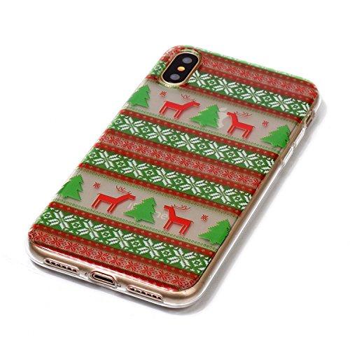 Copertura morbida del silicone TPU Per iPhone X 5.8, Funyye Modello Natale bello Carino Disegni [Alce Modello] Brillantini Glitter Morbido Sottile Chiaro Leggero Gel Protettiva Case Flessibile Dolce  Alce Modello