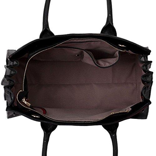LeahWard® Mittel Große Größe Damen Mode Qualität Herrlich greifen Tragetaschen Damen Essener Schnell verkaufend Modisch Handtaschen CWS00325 CWRD140764 CWA5001 325A Schwarz/Red