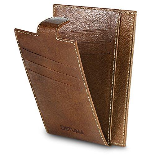 DETUMA ® Geldbörse Kreditkartenetui aus echtem Leder naturbelassenem Nappaleder Portemonnaie , Hira Vintage Cognac