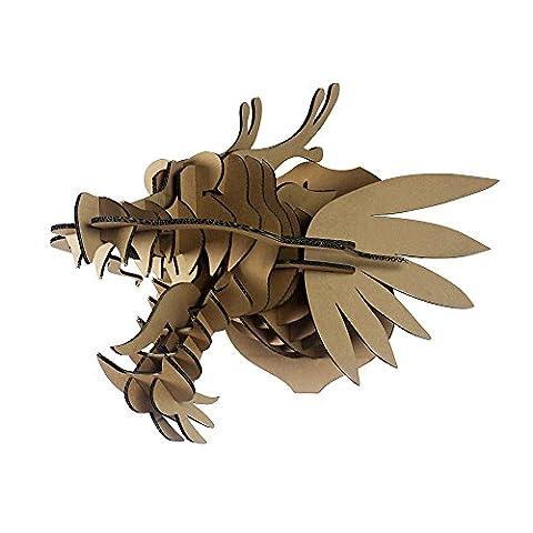 Machine à papier tête d'animal Décoration murale Art Décoration murale à suspendre DIY Carton 3d Puzzles de tête de dragon (Big-sized), marron