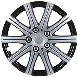 Cartrend  75171 Premium- Radzierblenden 4er- Satz Adelaide, schwarz+ silber 38,1 cm (15 Zoll) - 4-er Set