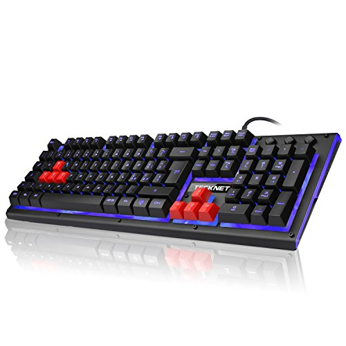 TeckNet Tastiera da Gaming, Tastiera da Gioco Similmeccanica con Retroilluminazione a LED per PS4, Mac, Windows, QWERTY, Layout Italiano