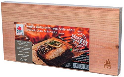 "Masterpiece ""heavy XXL"" - Aroma Grillbretter aus Zedernholz, 15 mm stark, Grillplanke Premium Qualität, Set á 2 Stk, Maße: 195 x 395 mm, BBQ Räucherbretter inkl...."