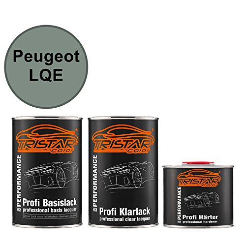 TRISTARcolor Autolack Set Dose spritzfertig für Peugeot LQE Vert Acadie Metallic/Akazien Gruen Metallic Basislack + 2K Klarlack 2,5L - Akazie Grün