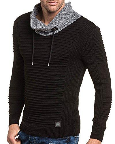 BLZ jeans - Pullover homme noir nervuré à col boule Noir