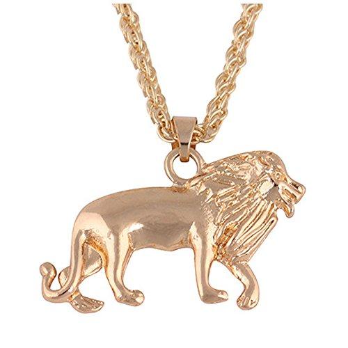 Herren Damen Löwe Halskette Ketten Neues Goldenes Goldkette Kopf Bib Halskette Anhänger Löwe Halsband Schmuck Kleideranhänger Kostüm Halskette von Sansee (Gold)