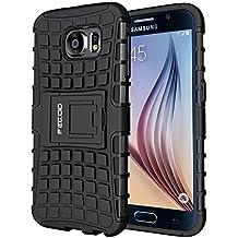 Funda Galaxy S6,Pegoo Caja El Soporte Incorporado A Prueba de golpes Anti-Arañazos y Polvo Mezcla Doble Capa Armadura Proteccion Cover Case Caso Funda Cáscara Caja para Samsung Galaxy S6 (Negro)