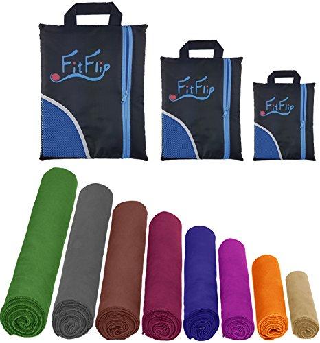 2er-Set Mikrofaser Handtücher, 70x140cm + 30x50cm, ultra saugfähig + leicht, Sporthandtuch, Reisehandtuch, Badetuch Microfaser (Blau)