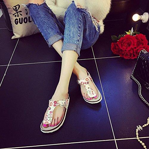 Estate Sandali Pantofole femminili in sughero estivo Modo pantofole spesso Sandali di scarpe da spiaggia per 18-40 anni Colore / formato facoltativo #2