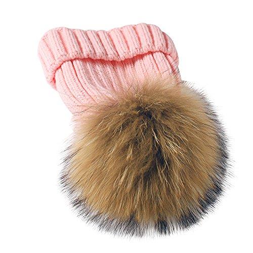 Alxcio Baby Hüte Strickmütze Winter Wärmer Stricken Häkelarbeithut Pom Pom Beanie Ski Mütze Kind Hut für Mädchen Jungen, Rosa