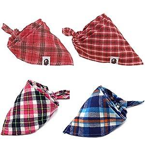 Uteruik Lot de 4 Bandanas pour Chien lavables en Forme de Triangle Motif Carreaux réversibles