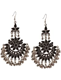 Zephyrr Fashion Oxidized Silver Afghani Tribal Dangler Hook Chandbali Earrings For Girls And Women