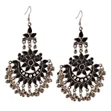 #6: Zephyrr Fashion Multicolor Oxidized Silver Afghani Tribal Dangler Hook Chandbali Dangle & Drop Earrings