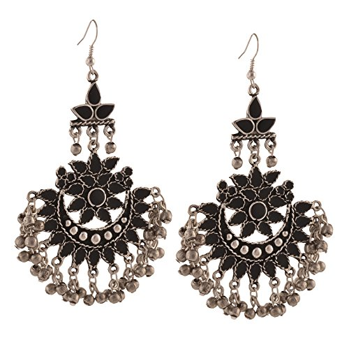 Zephyrr Jewellery Oxidized Silver Afghani Tribal Dangler Hook Chandbali Earrings for Girls and Women