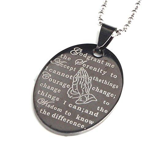 hwarz Bibel Gebet Tag Edelstahl Titan Stahl Anhänger Halskette ()