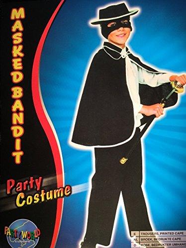 Masked Bandit maskierter Bandit Kinder-Kostüm schwarz Bösewicht Schurke Räuber Schuft Halunke Gauner Ganove Verbrecher Dieb Gangster (Gr. (Bösewicht Für Kostüme Jungs)