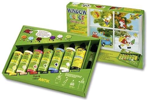Folia - 45007 - Lot de 7 tubes de peinture vitrail Window Color Funny ANTIK