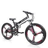KB26 21 biciclette elettriche pieghevoli, 48V 10.4Ah batteria al litio, 350 W 26 pollici Mountain Bike, 5 livelli di assistenza al pedale, forcella di sospensione (Nero, Più 1 batteria di ricambio)
