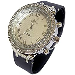Men's Silver Plated CZ Stone Bezel Rubber Strap HipHop Bling Watch