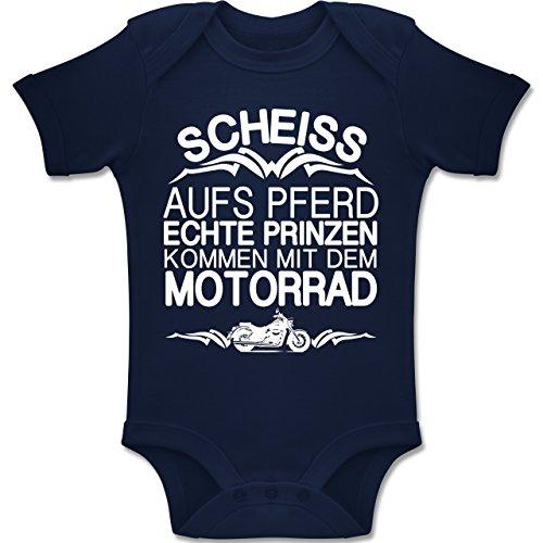 Shirtracer Sprüche Baby - Scheiß Aufs Pferd Echte Prinzen Kommen mit dem Motorrad - 6-12 Monate - Navy Blau - BZ10 - Baby Body Kurzarm Jungen Mädchen (Kurzarm-motorrad)