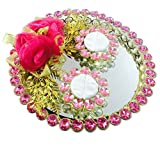 #9: Loops n knots Pink Rose Wedding/ Engagement Ring Platter/Holder For 2 Rings