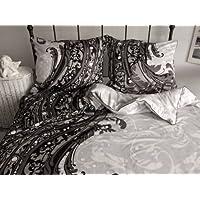 3 pièces noble MAKO SATIN drap 155x220 cm marron noir blanche/crème ornement * à rallonge *