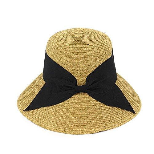 MXNET Sommer Stroh Hüte, Faltbar Baumwolle Schwarz Schleife Beach Fashion Design Elegante Beach Sun Hat für Damen (Farbe: Gelb, Größe: 56–58cm)